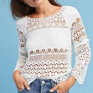 Anthropologie Deletta Crochet & Lace top white SM